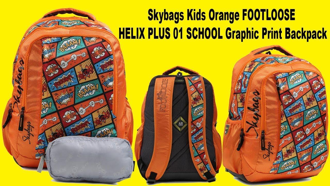 Skybags Kids Orange FOOTLOOSE HELIX PLUS 01 SCHOOL Graphic Print Backpack -  YouTube