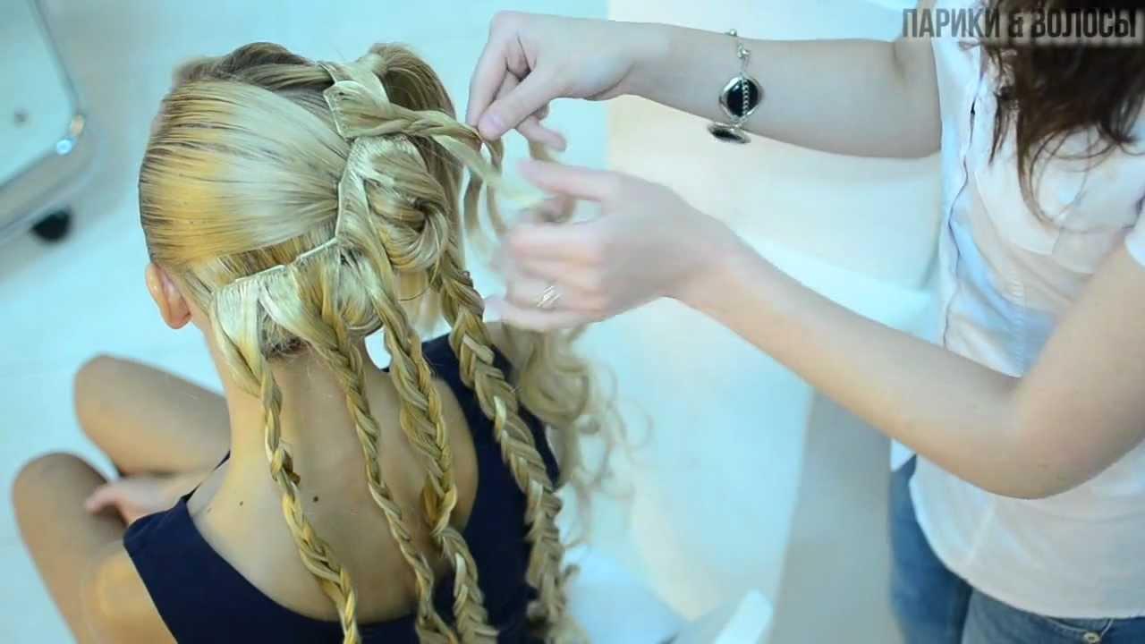 Причёска на короткие волосы с накладными прядями