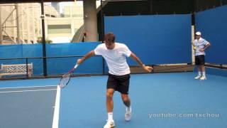 roger federer slow motion slice backhand in high definition australian open 2011