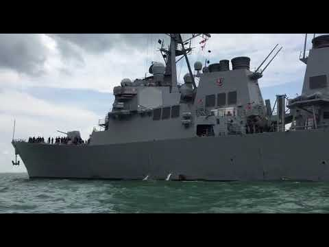 Close-up of the USS John S McCain near Changi Naval Base