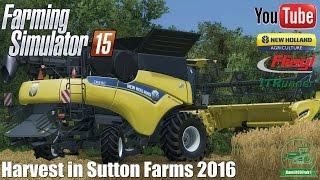 Harvest in Sutton Farms 2016 ㋡ New Holland CR 9.90 + Varifeed 32FT - Farming Simulator 15