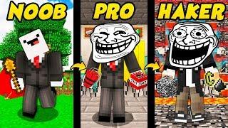 TROLL NOOB VS PRO VS HAKER W MINECRAFT!