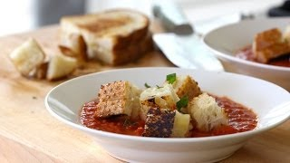 Cream Of Tomato Soup With Grilled Cheese Croutons (real Time Recipe!)