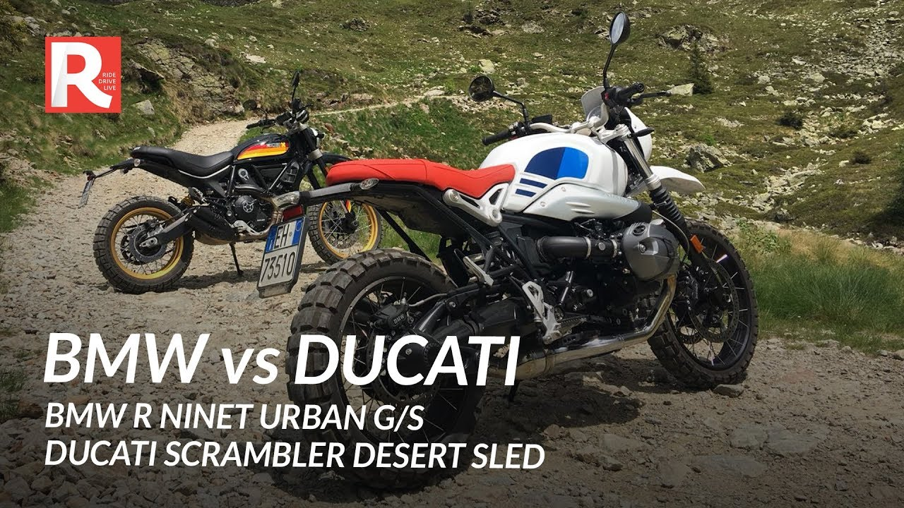 Bmw R Ninet Urban Gs Vs Ducati Scrambler Desert Sled Youtube