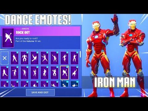 NEW! IRON MAN SKIN! With DANCE EMOTES SHOWCASE! Fortnite Battle Royale