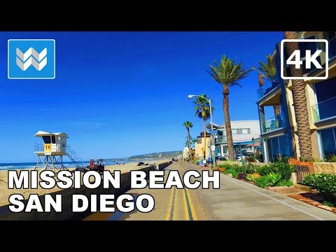 Walking around Mission Beach and Pacific Beach Boardwalk in San Diego, California - 4K
