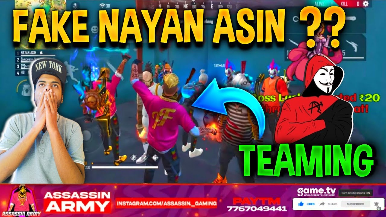 TEAMING WITH FAKE NAYANASIN IN RANK GAME  🔥LOL MOMENT 😂