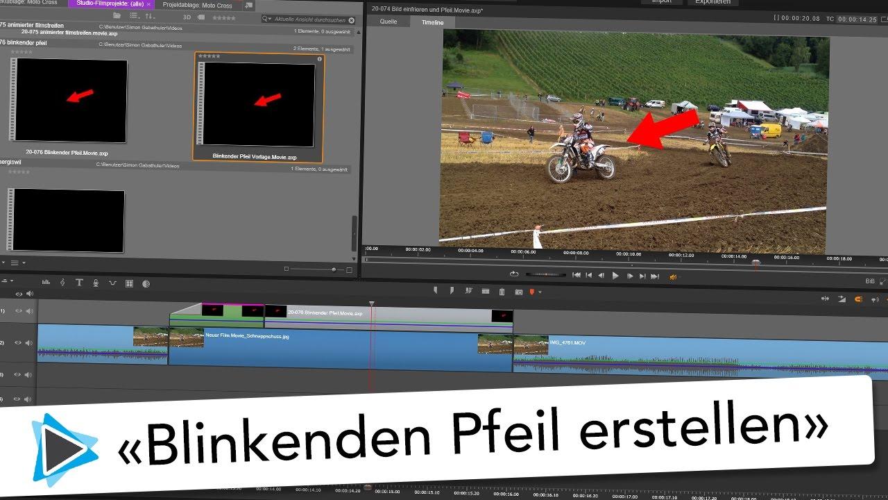 Pfeil blinken lassen Animation und Vorlage Pinnacle Studio 20 ...