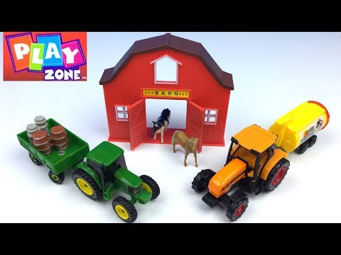UNBOXING PLAY ZONE VEHICLES 11 PIECE FARM SET WITH TRACTORS MILK TRUCK HARVESTER & FARM ANIMALS FUN