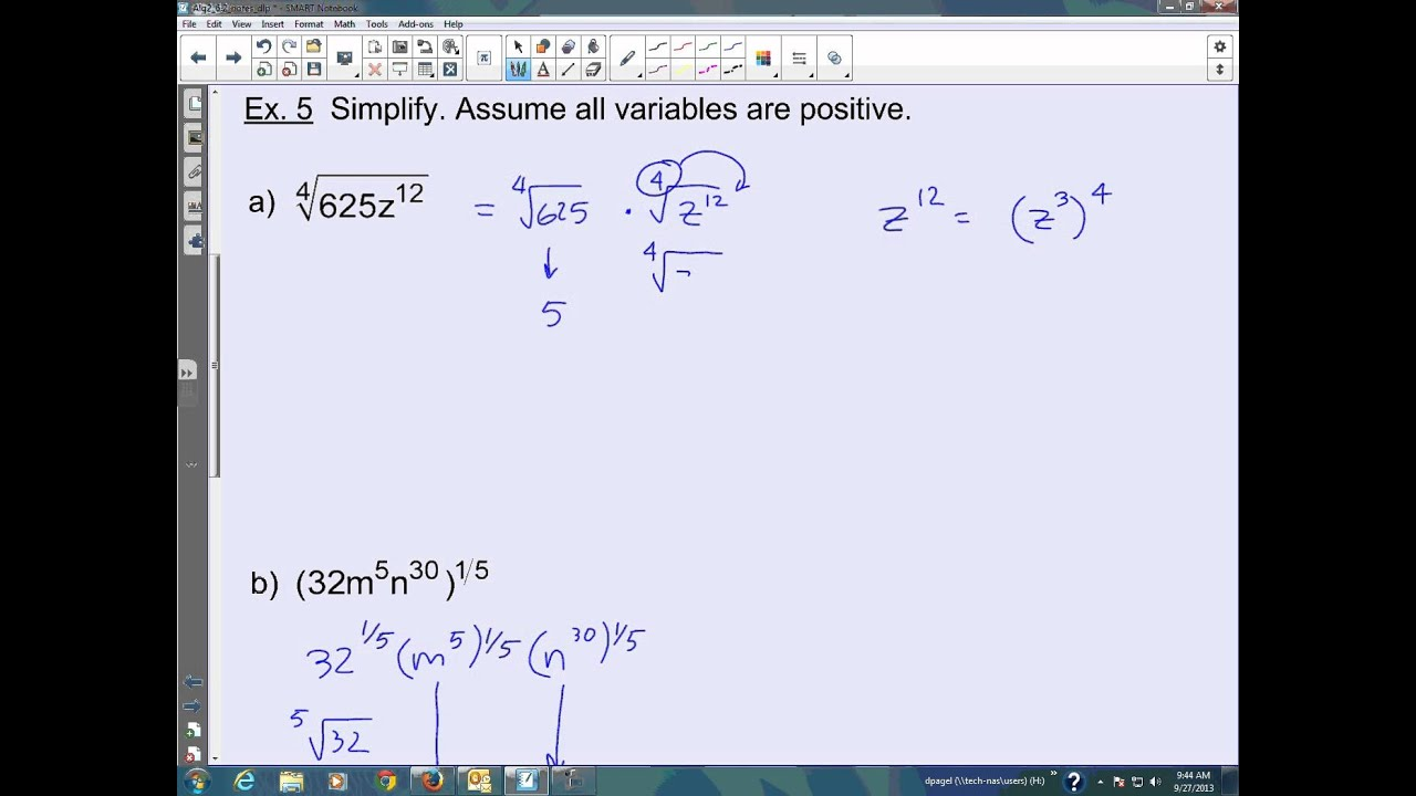 Algebra 2 Section 62 Apply Properties of Rational Exponents – Properties of Exponents Worksheet Algebra 2