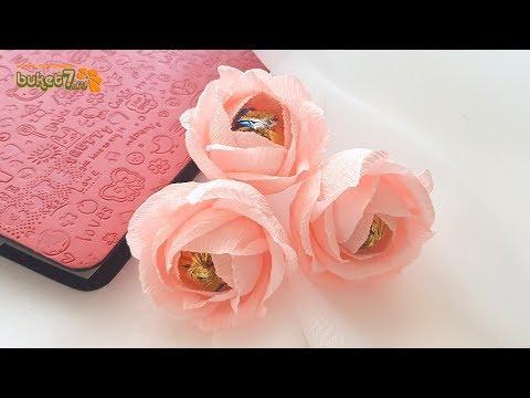 Цветы с конфетами из гофрированной бумаги своими руками видео уроки с конфетами