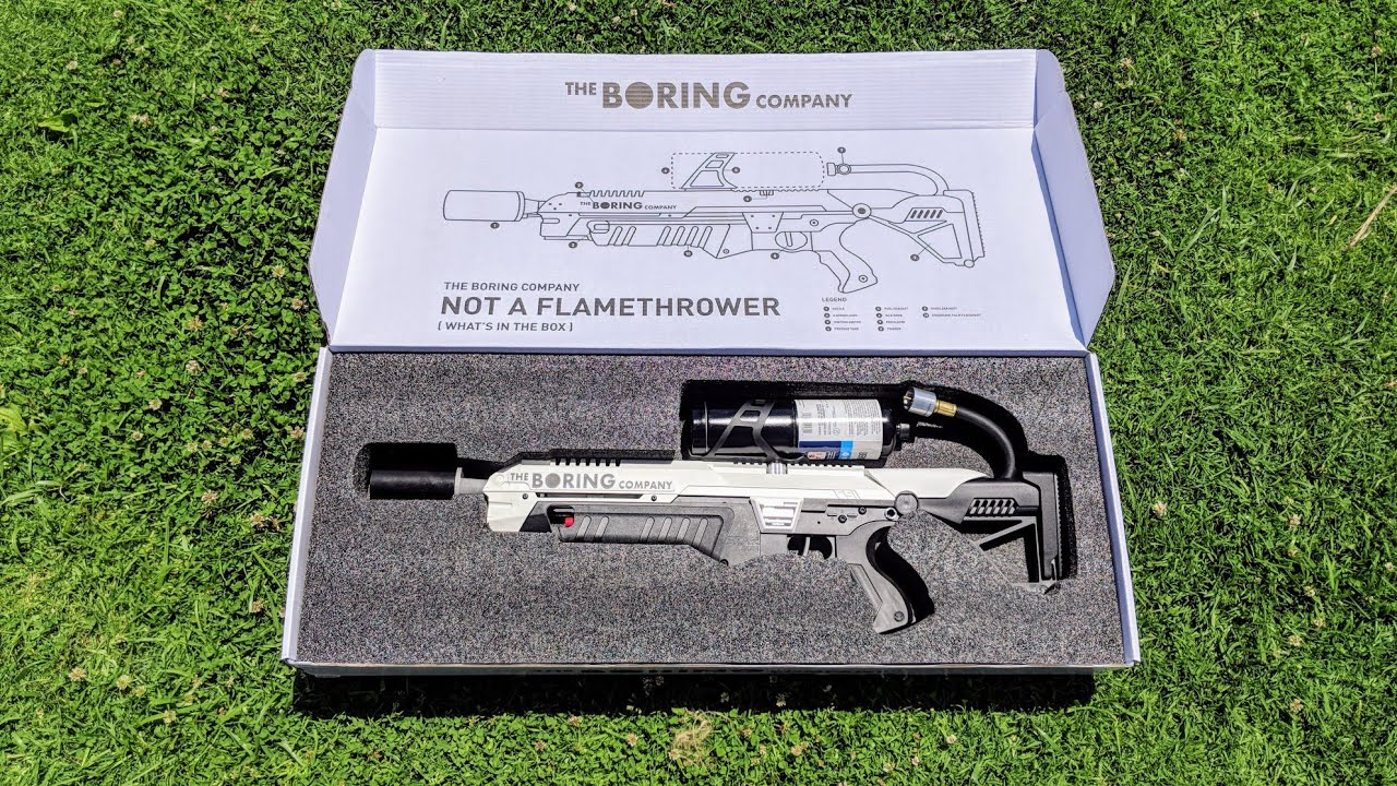 world 39 s first boring company flamethrower unboxing youtube. Black Bedroom Furniture Sets. Home Design Ideas