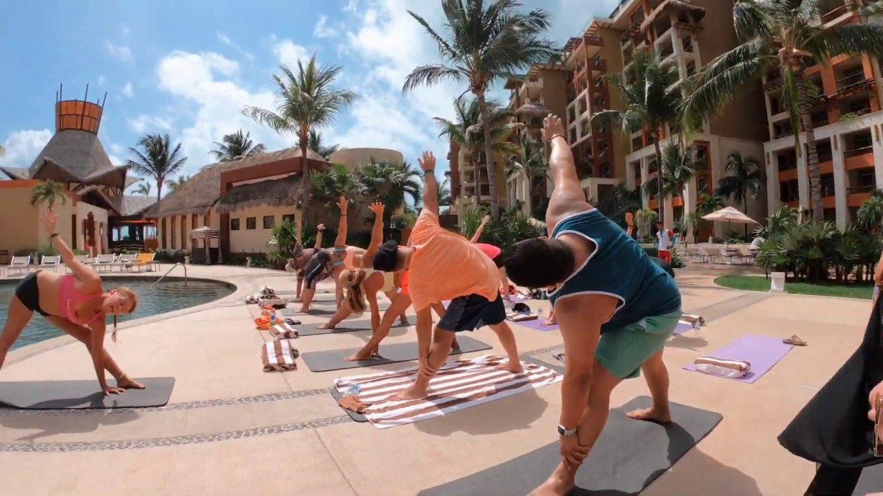 Yogini Bonnie Ringer's YogaBliss class at Villa Del Palmar, Cancun MEXICO