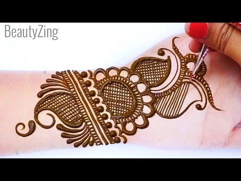 Stylish Full hand Mehndi Design - बहुत आसान भरवा मेहँदी डिज़ाइन लगाना सीखे- Front Hand Mehndi