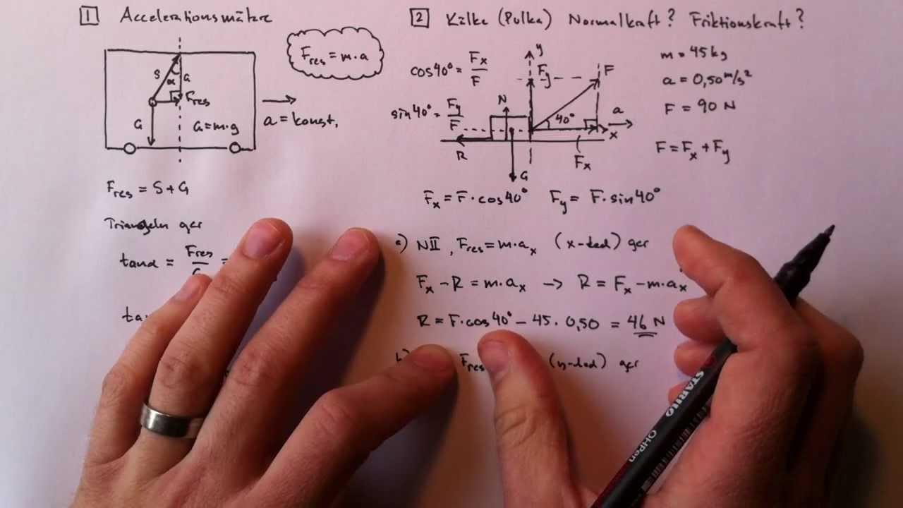 Två exempel på Newtons andra lag