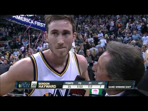 Gordon Hayward walkoff interview after Jazz vs. Cavs 11/5/2014