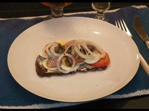 Smørrebrød Danish Open Face Herring Sandwich. A Matjes Herring (Sild) Sandwich For Lunch & Dinner