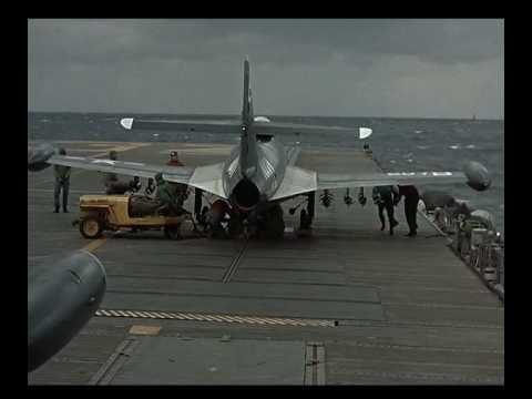 USS Oriskany launches F9F Panther fighters during the Korean war