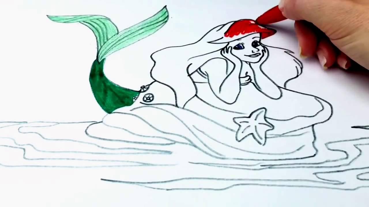Русалочка Мультик Раскраска для детей Ариель The Little ...