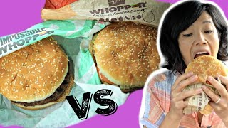 IMPOSSIBLE WHOPPER vs Whopper - Trying Burger King's New Meatless Burger