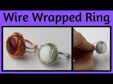 DIY Wire Wrapped Ring with Glass Cabochon Tutorial