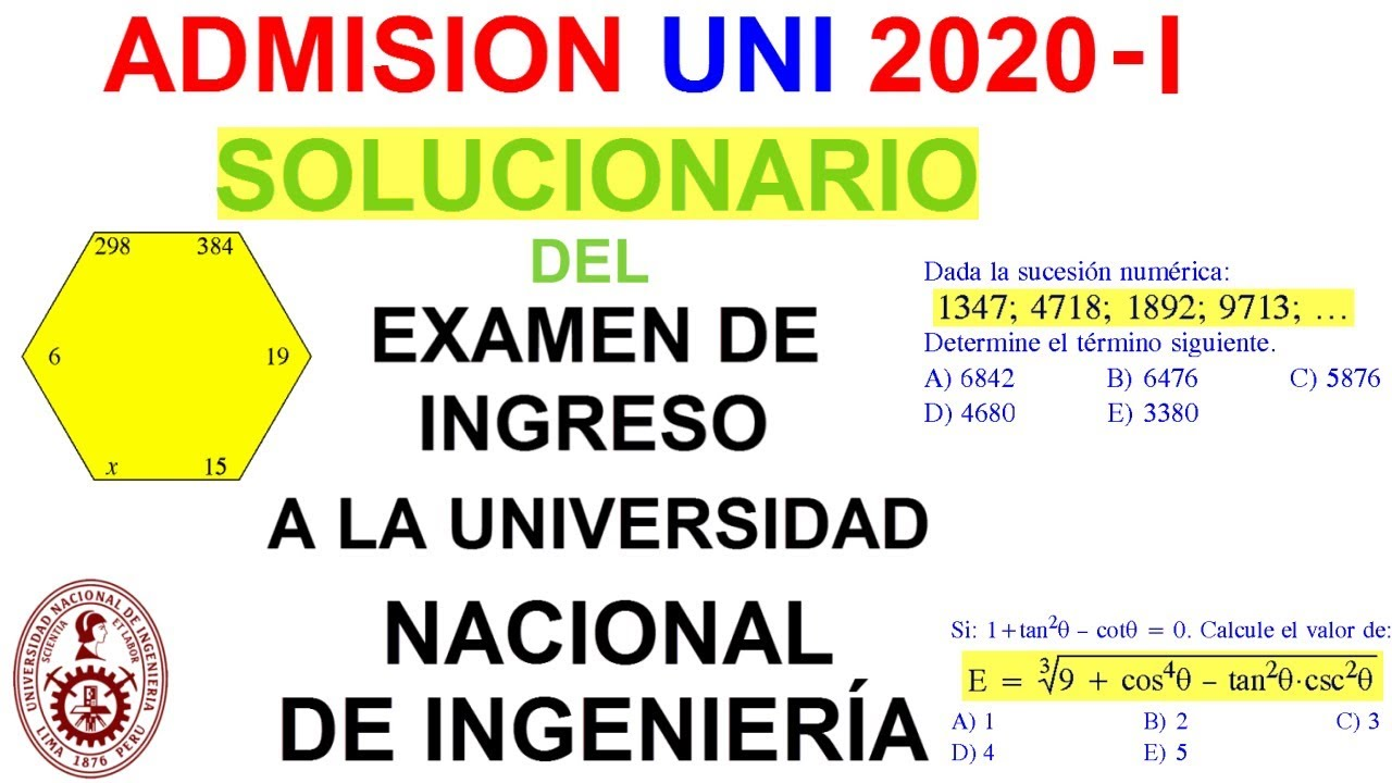 Solucionario Uni 2020 I Completo Examen De Admision Universidad De Ingenieria 2020 1 Youtube