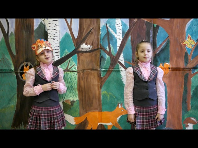 Изображение предпросмотра прочтения – «Ученицы 3 класса А» читают произведение «Ворона и Лисица» И.А.Крылова