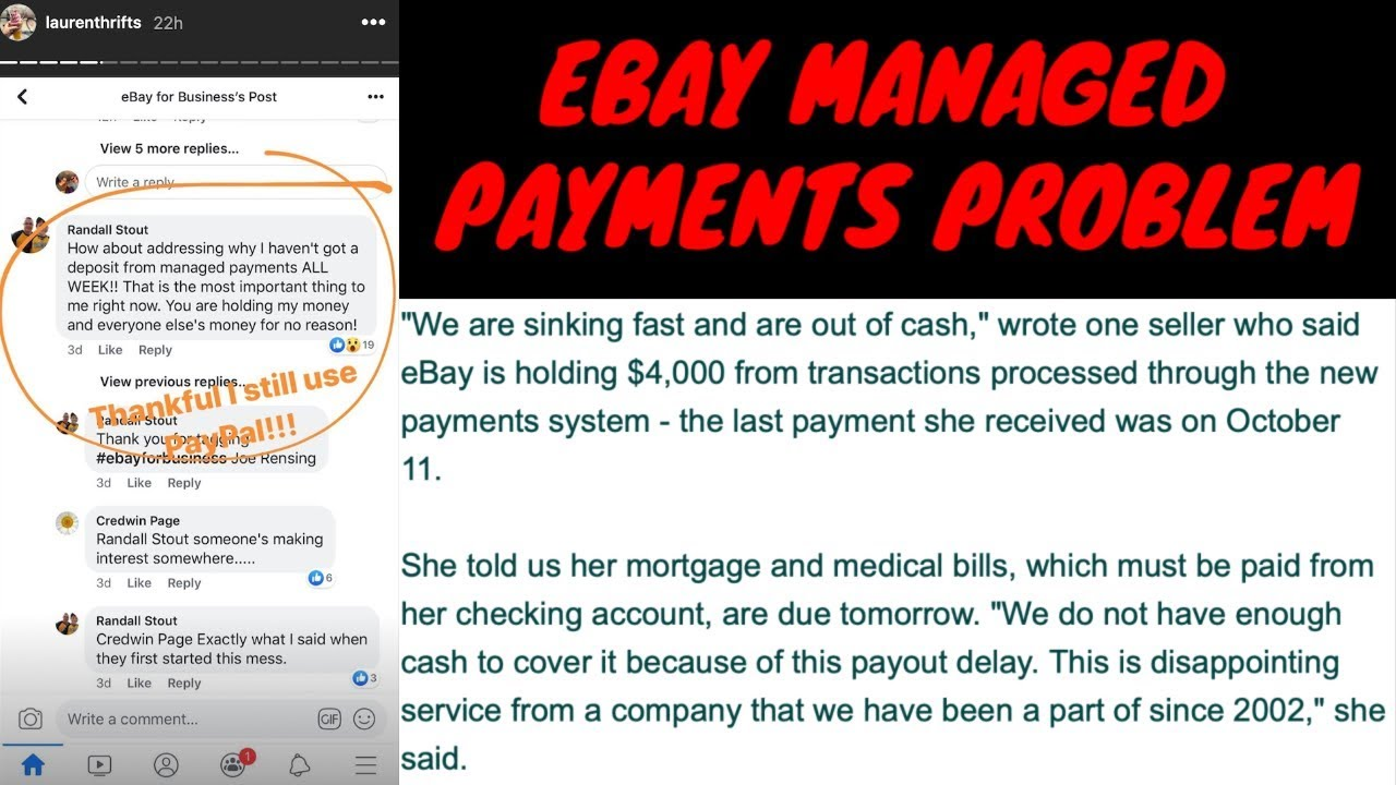 Ebay Managed Payment S Major Problem No Money Youtube