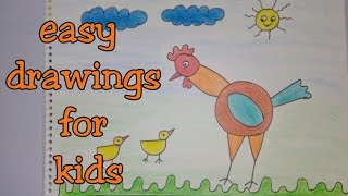Drawing tutorial: Step by step drawing for kids || how to draw a hen | easy | [creative ideas]