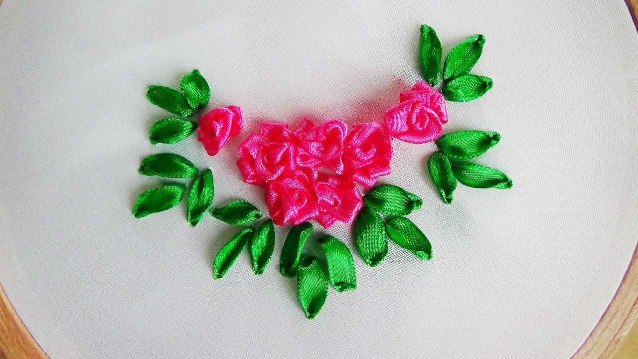 Hand Embroidery Making Roses With Ribbon  YouTube