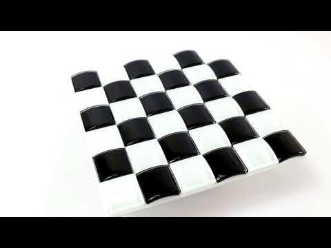 3D chess design tiles retro look in modern mosaic