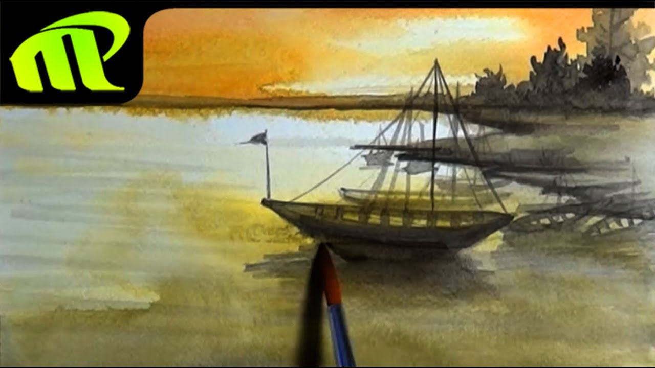 Simple Painting Watercolor Painting Simple Scenery Youtube