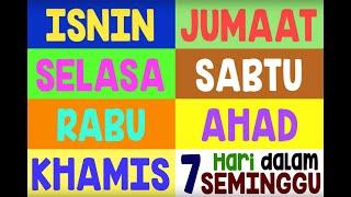 Nama-nama Hari Dalam Seminggu || Lagu Kanak-kanak || Days of the Week in Malay