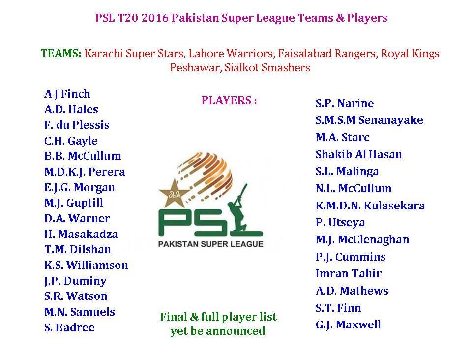 PSL T20 2016 Pakistan Super League Teams & Players - YouTube
