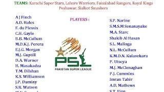 PSL T20 2016 Pakistan Super League Teams & Players