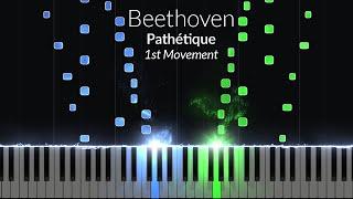 Pathetique 1st Movement - Opus 13 No. 8 [Piano Tutorial] (Synthesia)
