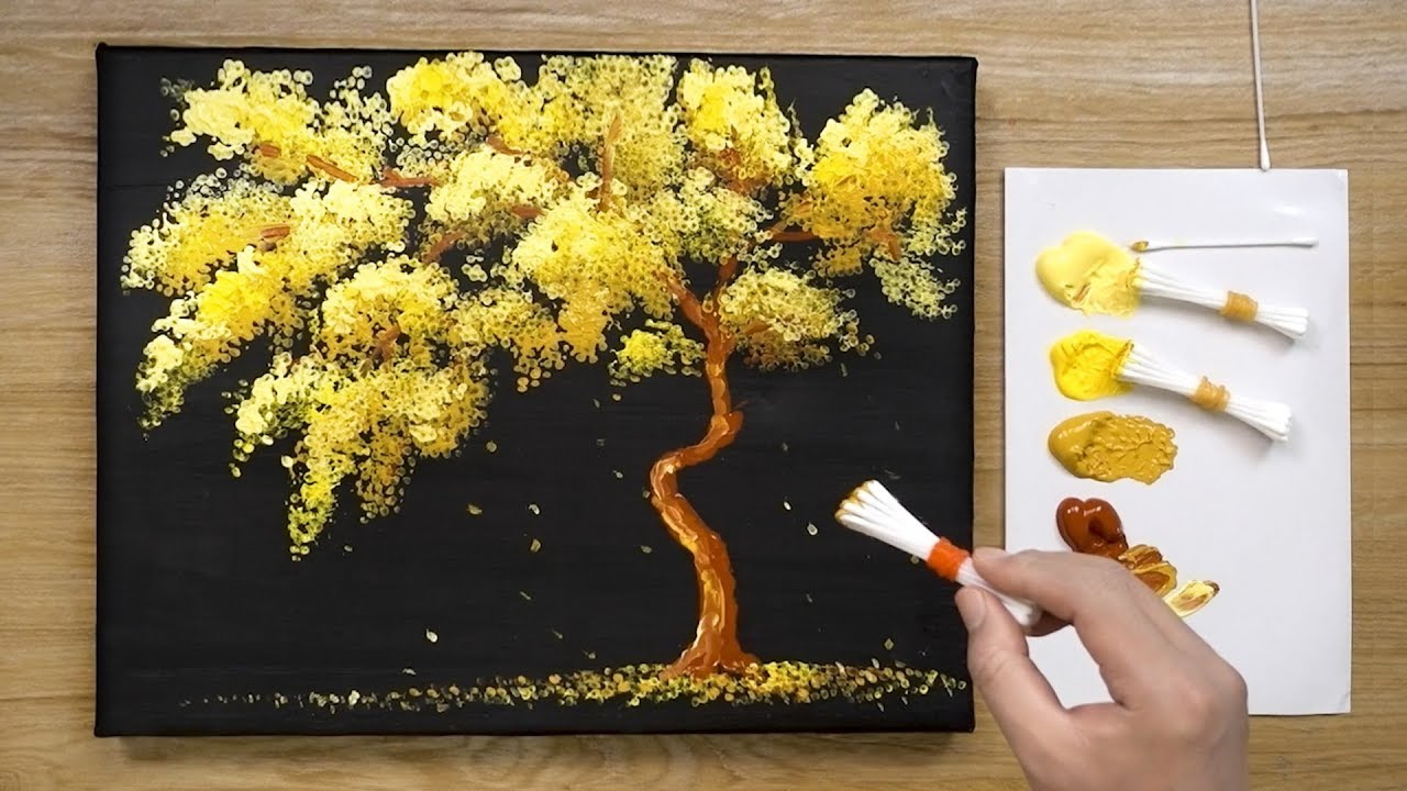 Yellow Leaves Acrylic Painting Techniques Easy Simple Youtube