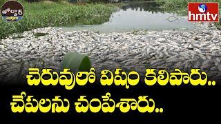 చెరువులో విషం కలిపారు.. చేపలను చంపేశారు.. | Jordar News | hmtv