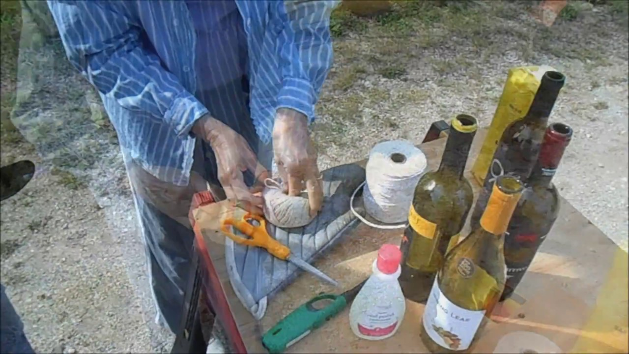 Cutting glass bottles with string and lighter fluid youtube for Cutting glass bottles with string