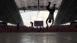 Aerialist in training for NDP 2016