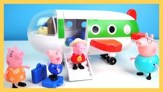 玩粉紅豬小妹 全家坐飛機 去旅行 開驚喜蛋 發聲玩具 玩具飛機  佩佩 喬治 豬爸爸 豬媽媽 玩具開箱