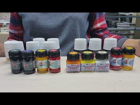Краски для росписи по стеклу и керамике акриловыми на водной основе и на основе растворителя