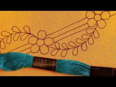 Hand Embroidery Modern Borderline Design-142,Hand Embroidery For Beginners,Border Design For Dresses