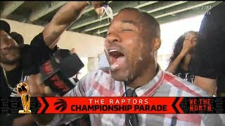 Norman Powell giving out champagne showers at the Raptors championship parade