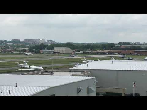 Three F-18s depart on Runway 24 at Teterboro Airport.
