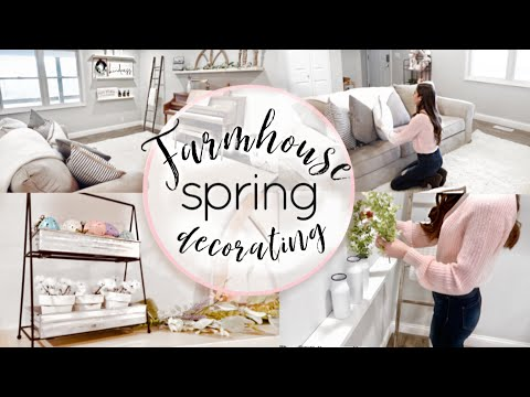 FARMHOUSE LIVING ROOM SPRING DECORATE WITH ME   FARMHOUSE STYLE SPRING DECOR   RUSTIC DECOR