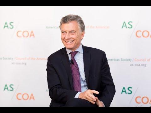 Mauricio Macri Receives Americas Society Gold Insigne Award