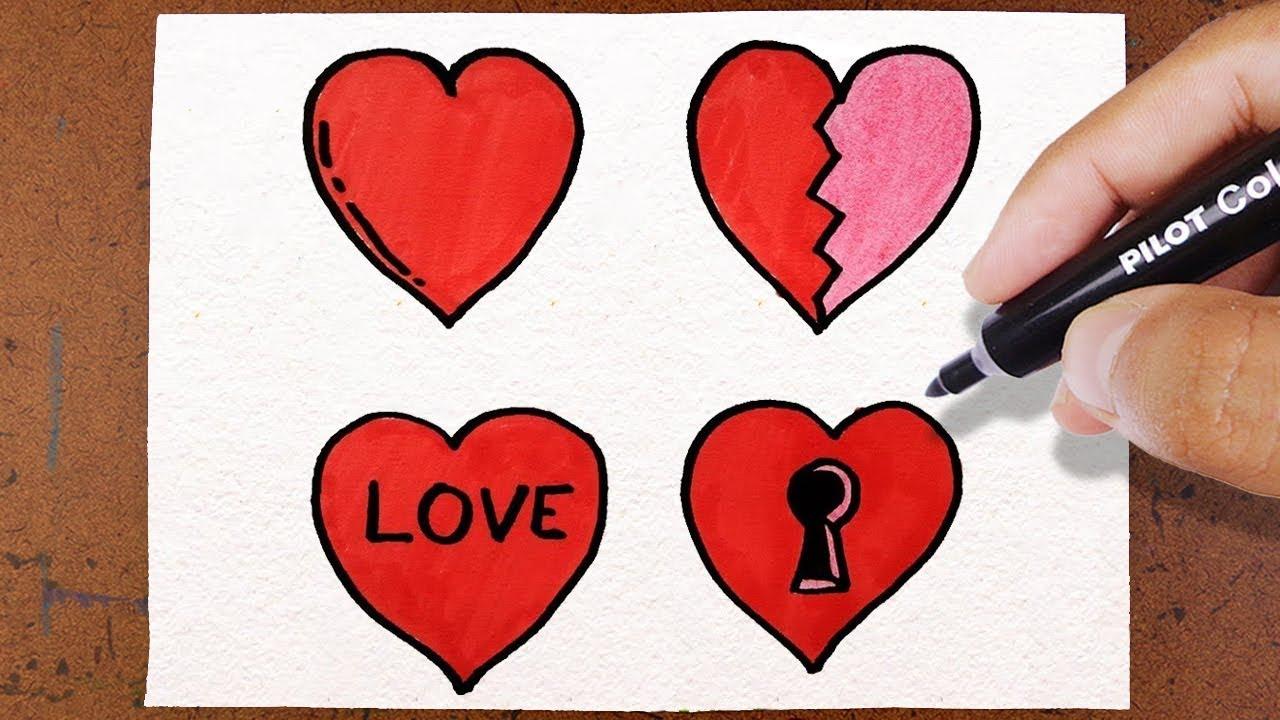 Desenhos De Amor Para Namorado: 4 Corações DIA DOS NAMORADOS, VAMOS DESENHAR