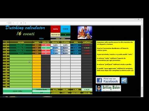 Dutching calculator a 16 eventi, la video guida