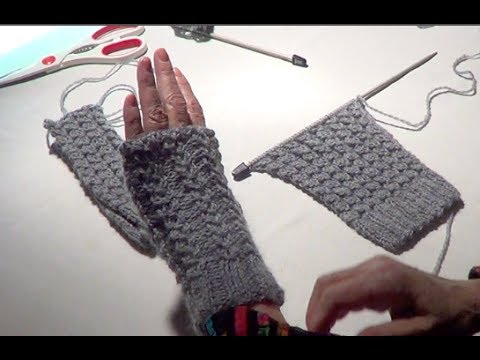 Fingerless Gloves Eyelet Mock Cable Ribbing Stitch Fingerless